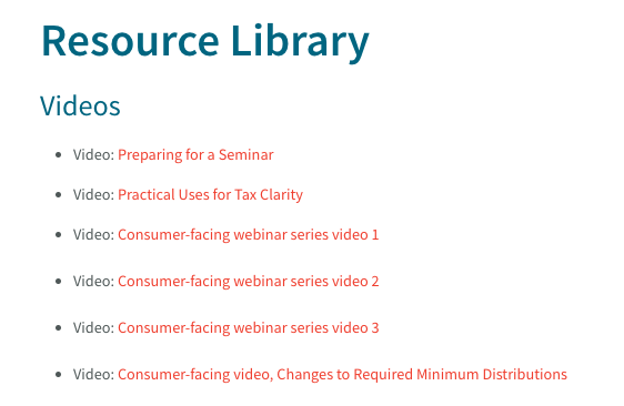 Tax Clarity Video Resources